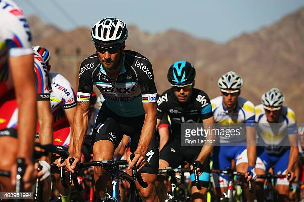 Tom Boonen of Belgium and Etixx QuickStep rides in the peloton on stage four of the 2015 Tour of Oman a 189km road stage from Sultan Qaboos Grande...