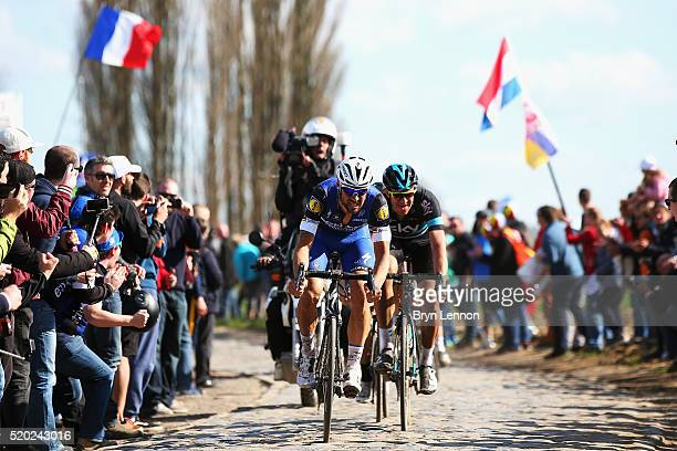 Tom Boonen of Belgium and EtixxQuick Step leads Ian Stannard of Great Britain and Team SKY in the 2016 Paris Roubaix from Compiegne to Roubaix on...