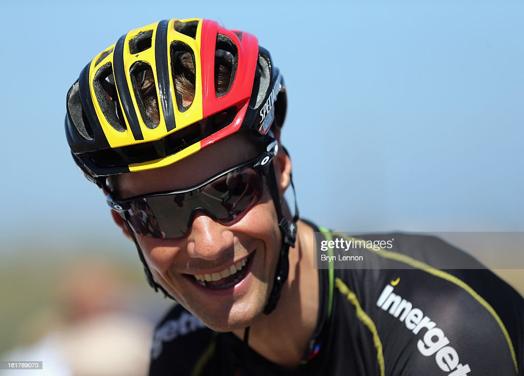 <a gi-track='captionPersonalityLinkClicked' href=/galleries/search?phrase=Tom+Boonen&family=editorial&specificpeople=221255 ng-click='$event.stopPropagation()'>Tom Boonen</a> of Belgium and Omega Pharma-Quick Step arrives at the start of stage six of the 2013 Tour of Oman from Hawit Nagam Park to the Matrah Corniche on February 16, 2013 in Hawit Nagam Park, Oman.