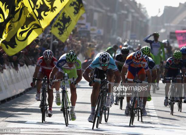 Tom Boonen of Belgium and Omega PharmaQuick Step sprints for the finishline on his way to winning the 74th edition of the Gent Wevelgem one day cycle...