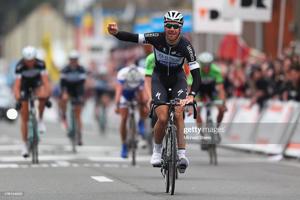 <a gi-track='captionPersonalityLinkClicked' href=/galleries/search?phrase=Tom+Boonen&family=editorial&specificpeople=221255 ng-click='$event.stopPropagation()'>Tom Boonen</a> of Belgium and Omega Pharma-Quick-Step Cycling Team celebrates winning during the Kuurne-Brussels-Kuurne on March 2, 2014 in Kuurne, Belgium.