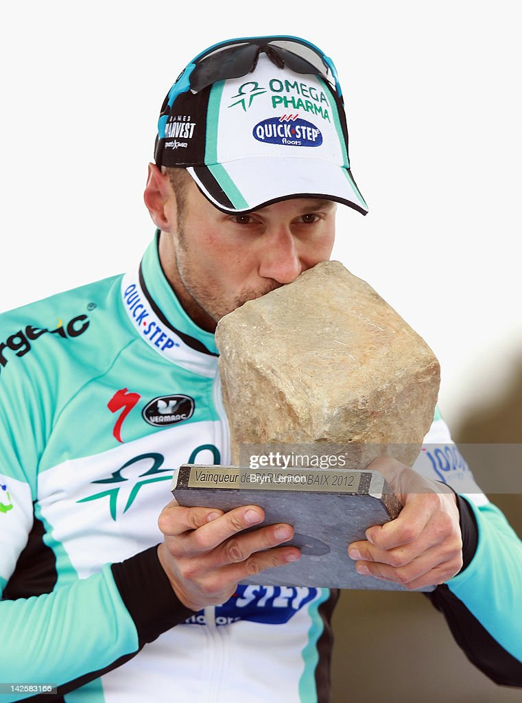 <a gi-track='captionPersonalityLinkClicked' href=/galleries/search?phrase=Tom+Boonen&family=editorial&specificpeople=221255 ng-click='$event.stopPropagation()'>Tom Boonen</a> of Belgium and Quick Step Omega Pharma celebrates winning the 2012 Paris Roubaix cycle race from Compiegne to Roubaix on April 8, 2012 in Roubaix, France. The 110th edition of the race is 257km long with 51.5km of cobbles spread over 27 sections.