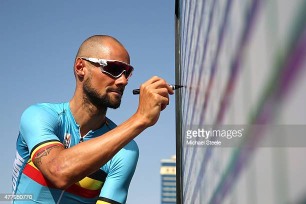 Tom Boonen of Belgium signs on prior to the Mens Cycling Road Race during day nine of the Baku 2015 European Games at Freedom Square on June 21 2015...