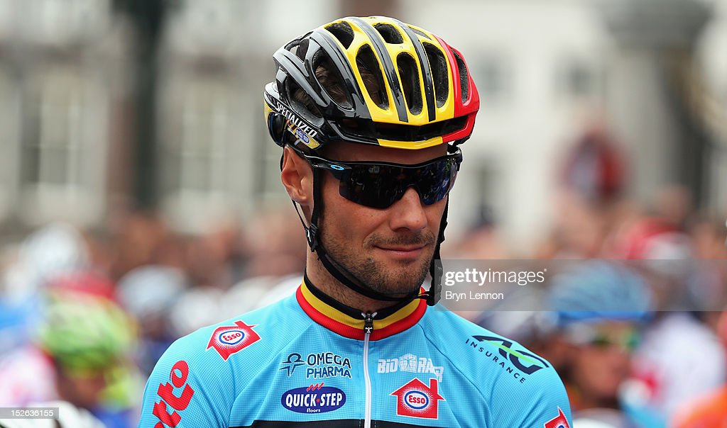Tom Boonen of Belgium waits at the start of the Men's Elite Road Race on day eight of the UCI Road World Championships on September 23, 2012 in Maastricht, Netherlands.