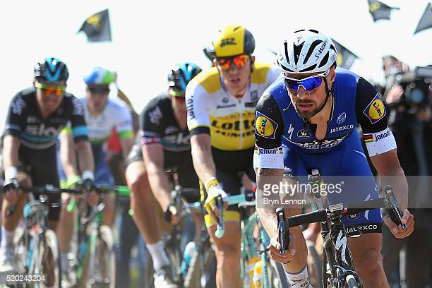 Tom Boonen of Great Britain and EtixxQuick Step in action in the 2016 Paris Roubaix from Compiegne to Roubaix on April 10 2016 in Paris France The...