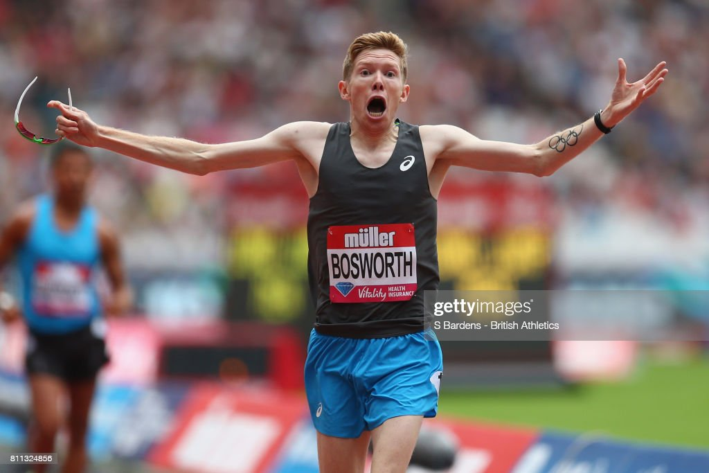 Tom Bosworth of Great Britain celebrates his victory in the mens 1 mile walk race during the Muller Anniversary Games at London Stadium on July 9, 2017 in London, England.