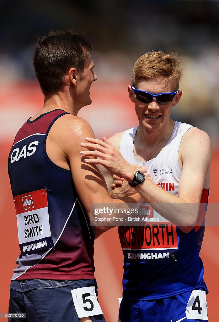 <a gi-track='captionPersonalityLinkClicked' href=/galleries/search?phrase=Tom+Bosworth&family=editorial&specificpeople=8008329 ng-click='$event.stopPropagation()'>Tom Bosworth</a> of Great Britain embraces Dane Bird-Smith of Australia after the mens 5000m walk during day three of the British Championships Birmingham at Alexander Stadium on June 26, 2016 in Birmingham, England.
