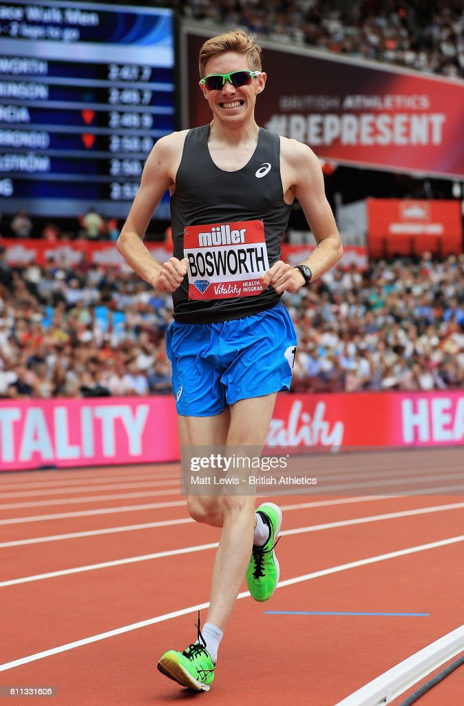 Tom Bosworth of Great Britain in action during the Mens 1 Mile Race walk during the Muller Anniversary Games at London Stadium on July 9, 2017 in London, England.