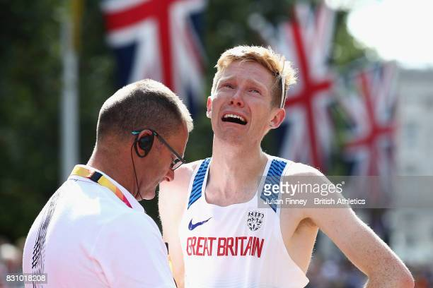 Tom Bosworth of Great Britain reacts after being disqualified from in the Men's 20 Kilometres Race Walk final during day ten of the 16th IAAF World...
