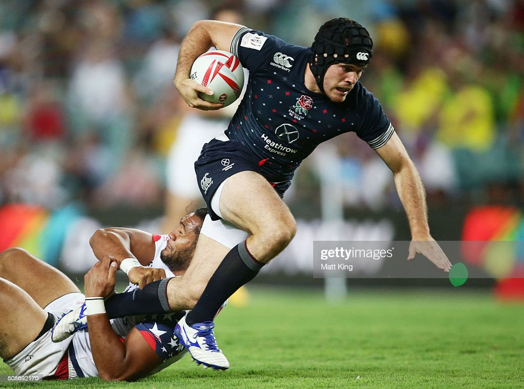 Tom Bowen of England takes on the defence during the 2016 Sydney Sevens match between England and USA at Allianz Stadium on February 6, 2016 in Sydney, Australia.