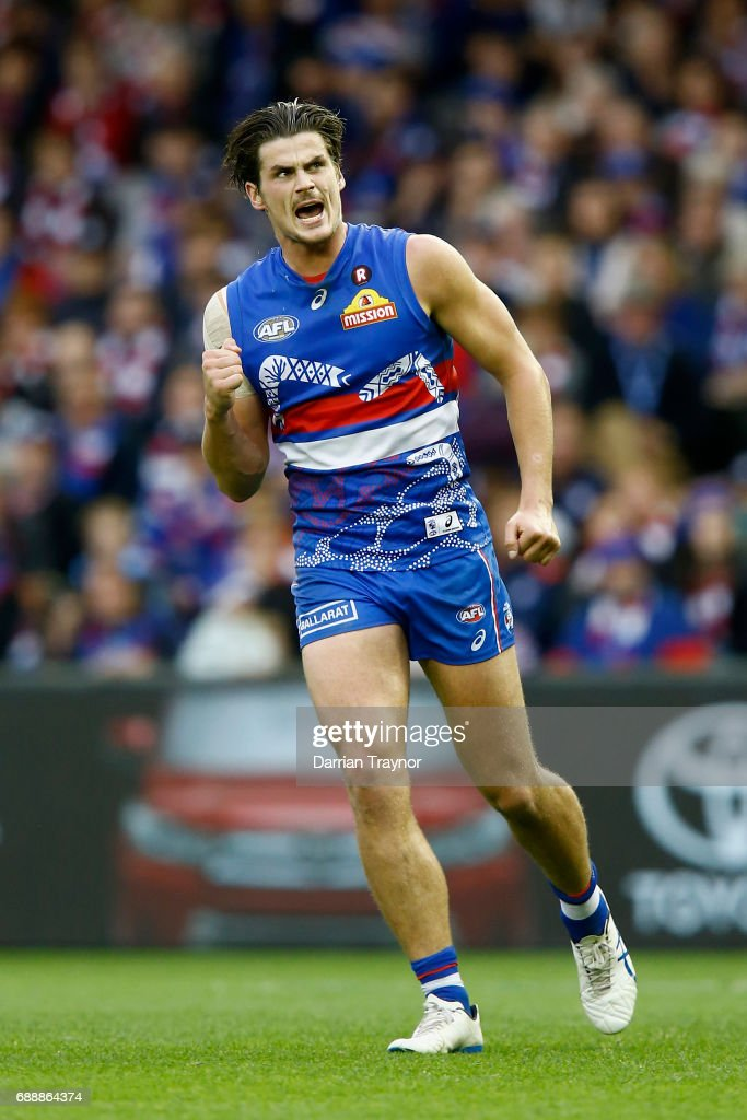 Tom Boyd of the Bulldogs celebrates a goal during the round 10 AFL match between the Western Bulldogs and the St Kilda Saints at Etihad Stadium on May 27, 2017 in Melbourne, Australia.