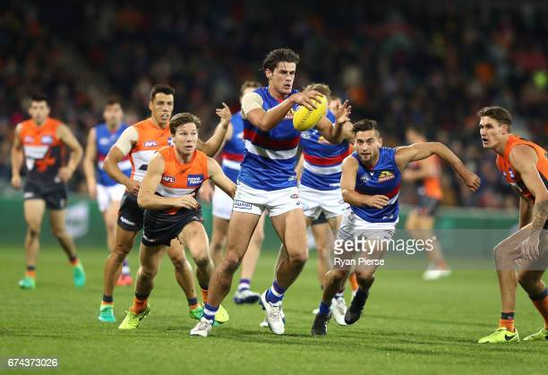 Tom Boyd of the Bulldogs looks upfield during the round six AFL match between the Greater Western Sydney Giants and the Western Bulldogs at UNSW...