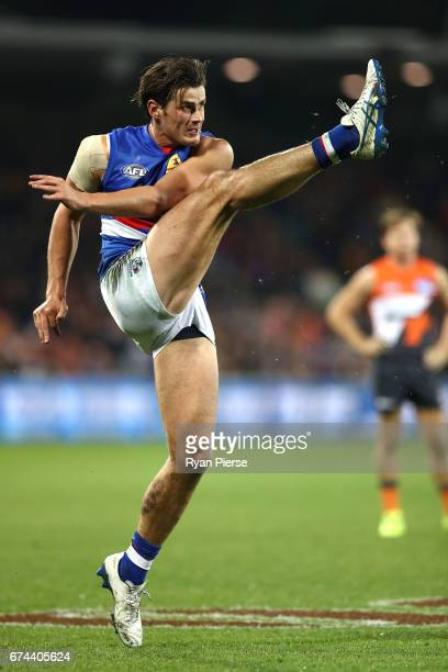 Tom Boyd of the Bulldogs misses a shot for goal in the last quarter during the round six AFL match between the Greater Western Sydney Giants and the...