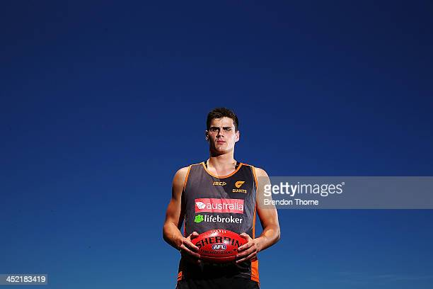 Tom Boyd of the Giants poses during a Greater Western Sydney Giants AFL media session at Sydney Olympic Park Sports Centre on November 27 2013 in...