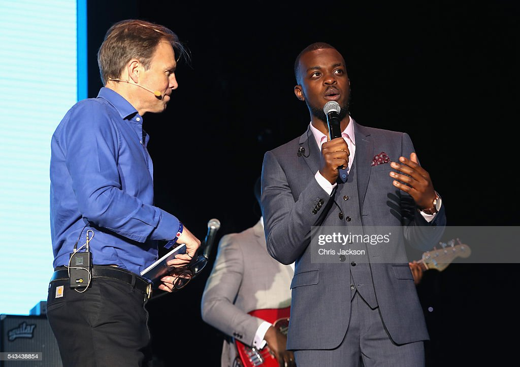<a gi-track='captionPersonalityLinkClicked' href=/galleries/search?phrase=Tom+Bradby&family=editorial&specificpeople=7079382 ng-click='$event.stopPropagation()'>Tom Bradby</a> and George Mpanga aka George the Poet appear on stage during the Sentebale Concert at Kensington Palace on June 28, 2016 in London, England. Sentebale was founded by Prince Harry and Prince Seeiso of Lesotho over ten years ago. It helps the vulnerable and HIV positive children of Lesotho and Botswana.