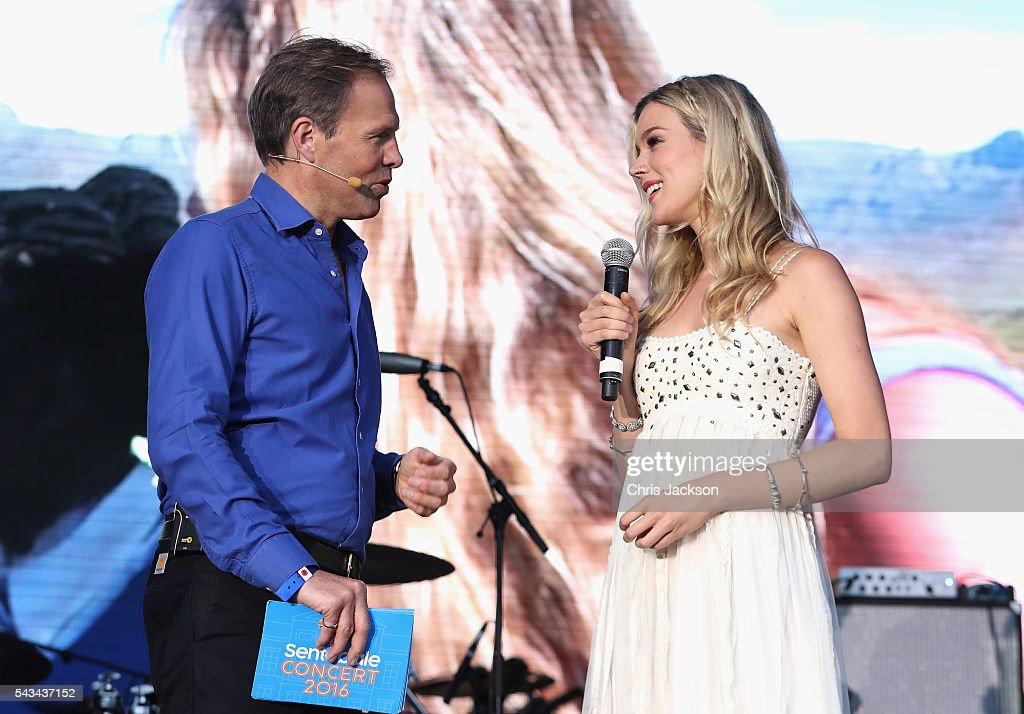 Tom Bradby and Joss Stone appear on stage during the Sentebale Concert at Kensington Palace on June 28, 2016 in London, England. Sentebale was founded by Prince Harry and Prince Seeiso of Lesotho over ten years ago. It helps the vulnerable and HIV positive children of Lesotho and Botswana.