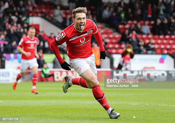 Tom Bradshaw of Walsall celebrates after scoring a goal to make it 10 during the Sky Bet League One match between Walsall and Fleetwood Town at...