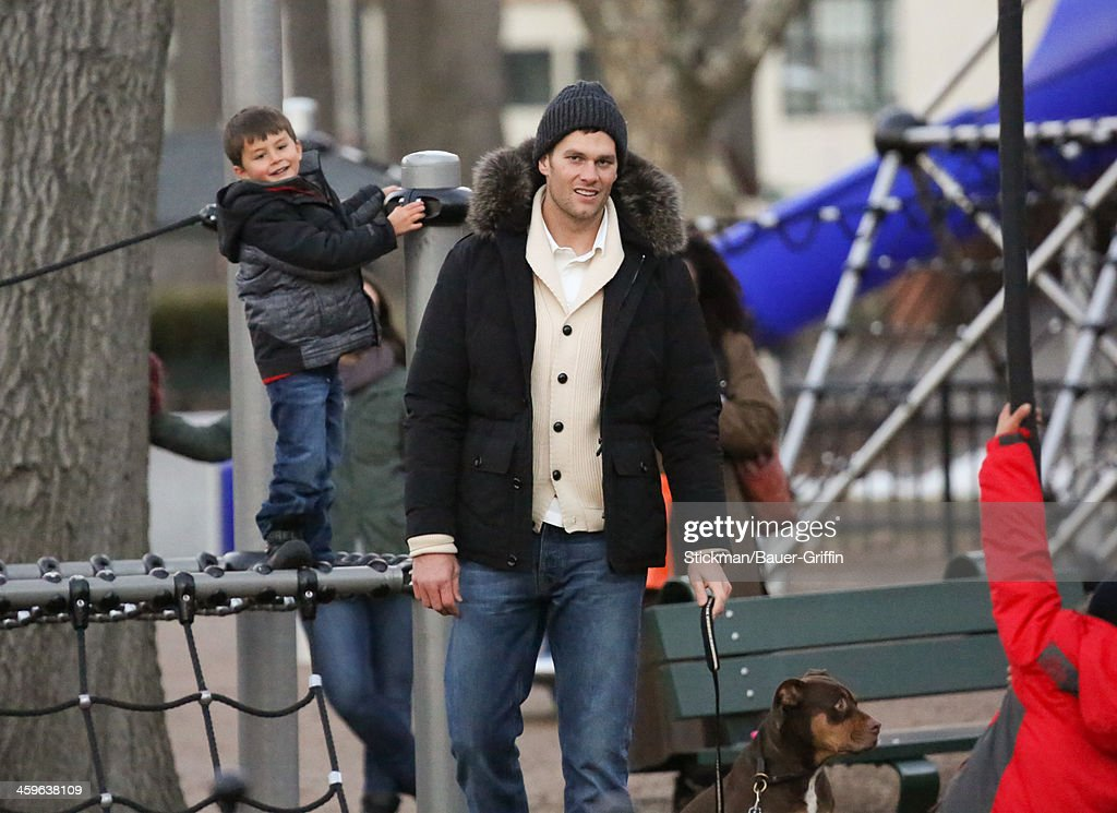 <a gi-track='captionPersonalityLinkClicked' href=/galleries/search?phrase=Tom+Brady+-+American+Football+Quarterback&family=editorial&specificpeople=201737 ng-click='$event.stopPropagation()'>Tom Brady</a> (R) and Benjamin Brady are seen on December 28, 2013 in Boston, Massachusetts.