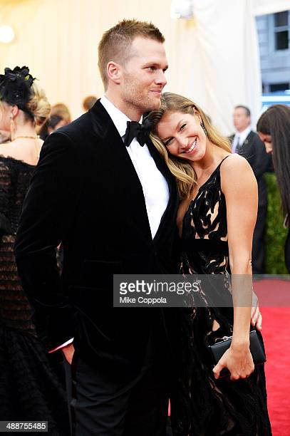 Tom Brady and Gisele Bundchen attend the 'Charles James Beyond Fashion' Costume Institute Gala at the Metropolitan Museum of Art on May 5 2014 in New...