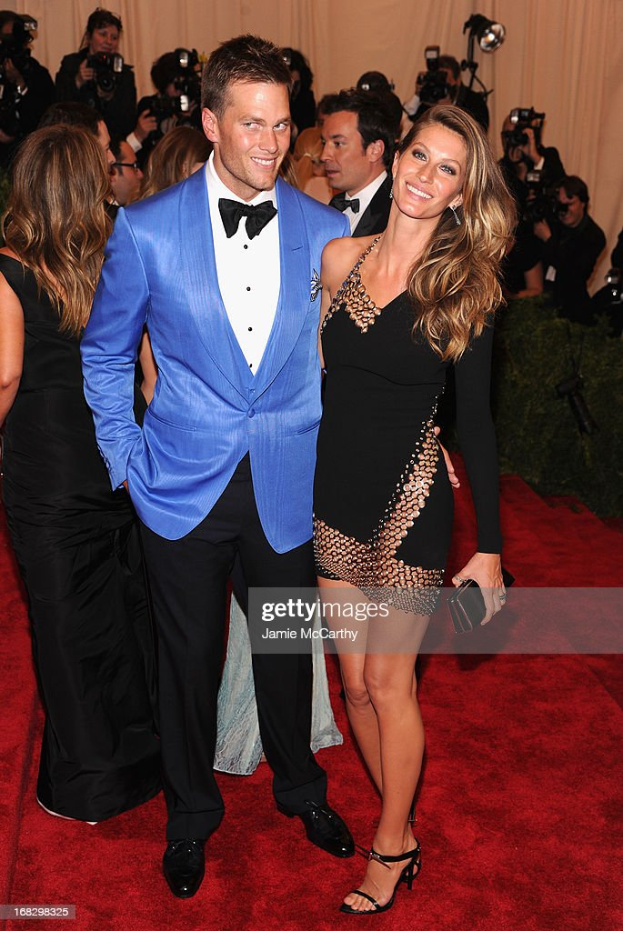 Tom Brady (L) and Gisele Bundchen attend the Costume Institute Gala for the 'PUNK: Chaos to Couture' exhibition at the Metropolitan Museum of Art on May 6, 2013 in New York City.