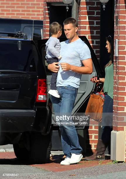 Tom Brady and his son Benjamin Brady are seen on August 11 2012 in Boston Massachusetts