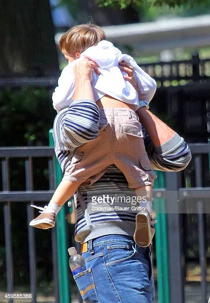 Tom Brady and his son Benjamin Brady are seen on June 01 2012 in Boston Massachusetts