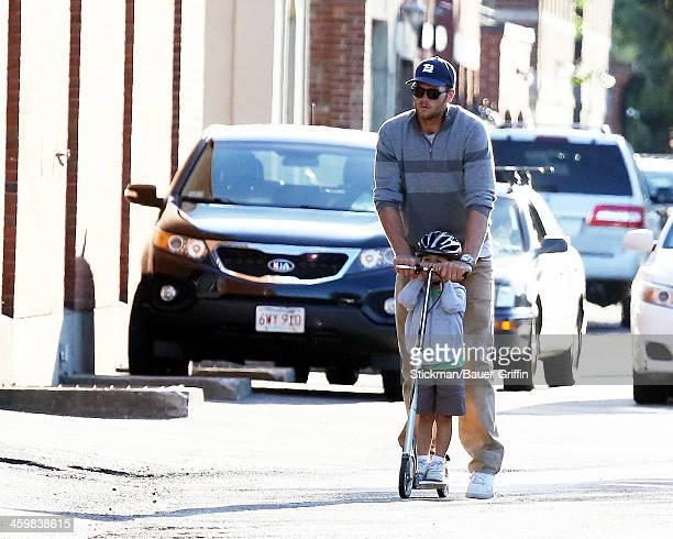 Tom Brady and his son Benjamin Brady sighting in Boston on September 07 2013 in Boston Massachusetts