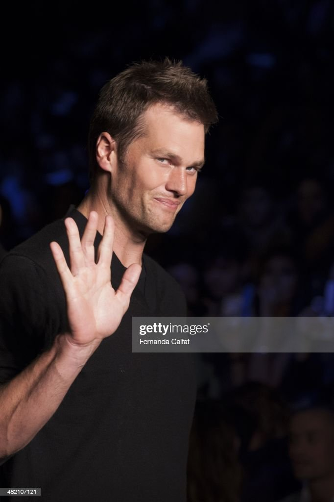 <a gi-track='captionPersonalityLinkClicked' href=/galleries/search?phrase=Tom+Brady+-+American+Football+Quarterback&family=editorial&specificpeople=201737 ng-click='$event.stopPropagation()'>Tom Brady</a> attends the runway during the Colcci show at Sao Paulo Fashion Week Summer 2014/2015 at Parque Candido Portinari on April 2, 2014 in Sao Paulo, Brazil.