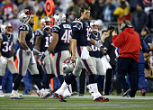 Tom Brady heads to the sidelines in the second quarter at Gillette Stadium Sunday January 18 2015 AFC Championship Game between the New England...