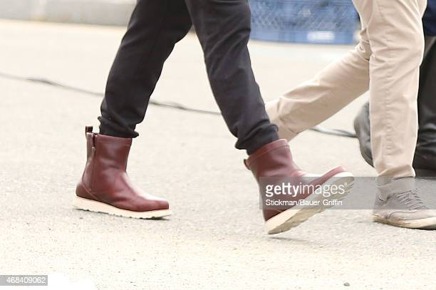 Tom Brady is seen arriving to the set for his latest UGG shoot on April 2 2015 in Boston Massachusetts