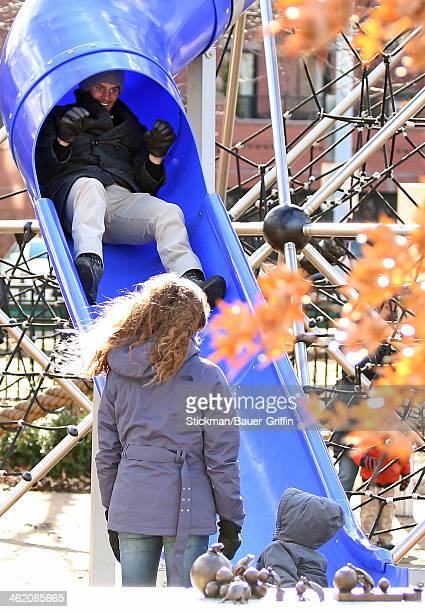 Tom Brady is seen at a local playground with his son Benjamin Brady on January 12 2014 in Boston Massachusetts