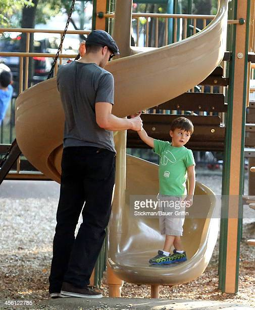 Tom Brady is seen playing with his son Benjamin Brady on August 30 2013 in Boston Massachusetts
