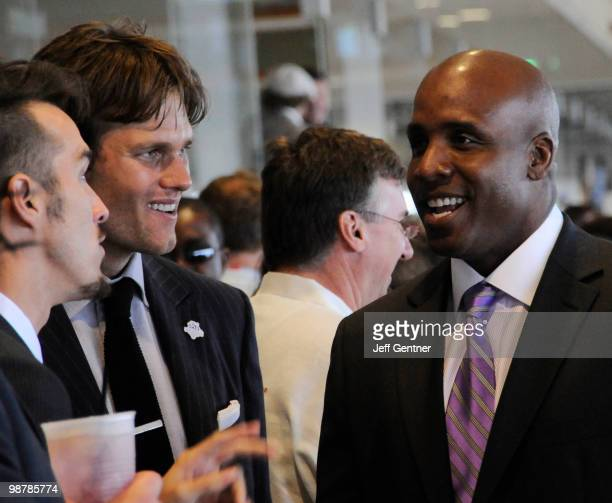 Tom Brady left and Barry Bonds attend the Turf Club Suites at the 136th Kentucky Derby on May 1 2010 in Louisville Kentucky