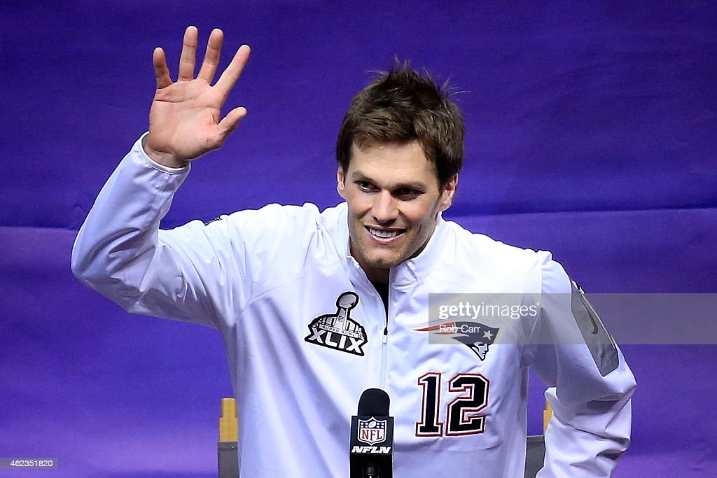 Tom Brady of the New England Patriots addresses the media at Super Bowl XLIX Media Day Fueled by Gatorade inside US Airways Center on January 27 2015...