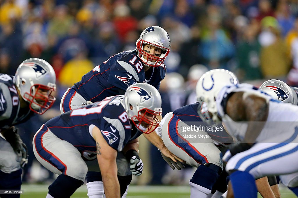 Tom Brady of the New England Patriots calls a play in the first quarter against the Indianapolis Colts of the 2015 AFC Championship Game at Gillette...