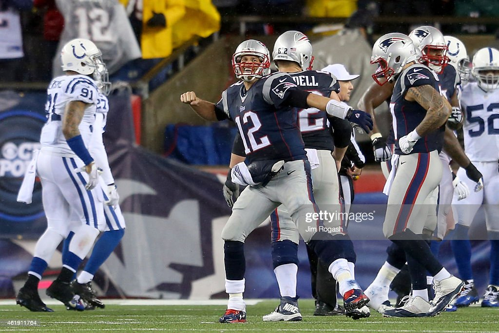 Tom Brady of the New England Patriots celebrates a touchdown in the third quarter against the Indianapolis Colts of the 2015 AFC Championship Game at...