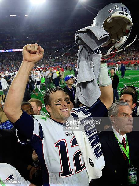 Tom Brady of the New England Patriots celebrates after defeating the Seattle Seahawks during Super Bowl XLIX at University of Phoenix Stadium on...