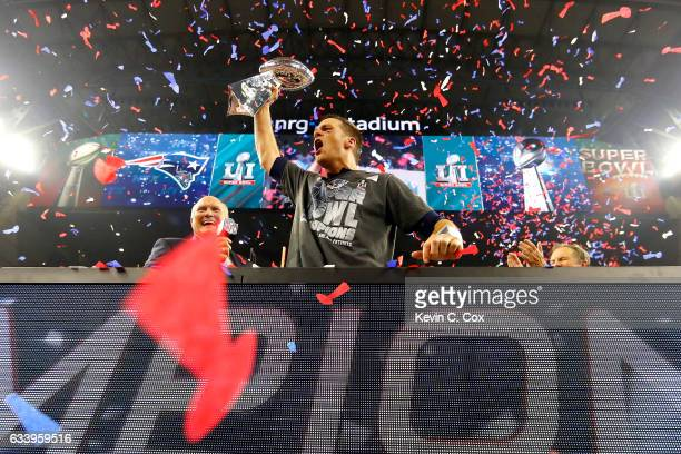 Tom Brady of the New England Patriots celebrates after the Patriots defeat the Atlanta Falcons 3428 during Super Bowl 51 at NRG Stadium on February 5...