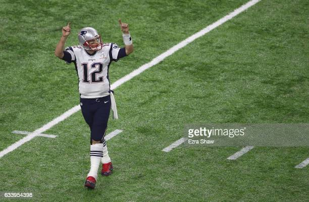 Tom Brady of the New England Patriots celebrates during the fourth quarter against the Atlanta Falcons during Super Bowl 51 at NRG Stadium on...