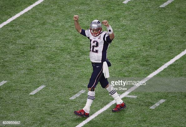 Tom Brady of the New England Patriots celebrates in the fourth quarter against the Atlanta Falcons during Super Bowl 51 at NRG Stadium on February 5...