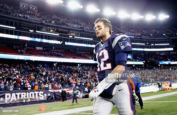 Tom Brady of the New England Patriots exits the field after the Patriots 3528 loss against the Philadelphia Eagles at Gillette Stadium on December 6...