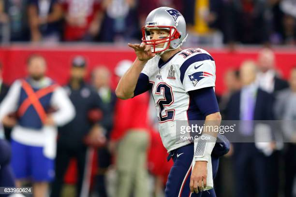 Tom Brady of the New England Patriots gestures late in the game against the Atlanta Falcons during Super Bowl 51 at NRG Stadium on February 5 2017 in...