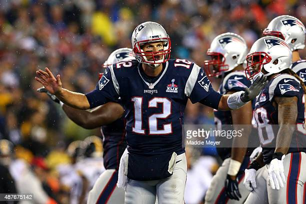 Tom Brady of the New England Patriots gestures to his team late in the game against the Pittsburgh Steelers at Gillette Stadium on September 10 2015...