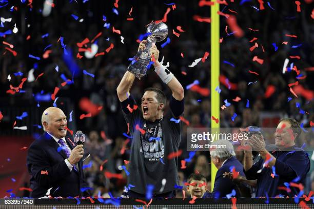 Tom Brady of the New England Patriots holds the Vince Lombardi Trophy after defeating the Atlanta Falcons 3428 during Super Bowl 51 at NRG Stadium on...