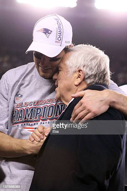 Tom Brady of the New England Patriots hugs Robert Kraft team owner of the New England Patriots after defeating the Baltimore Ravens in the AFC...