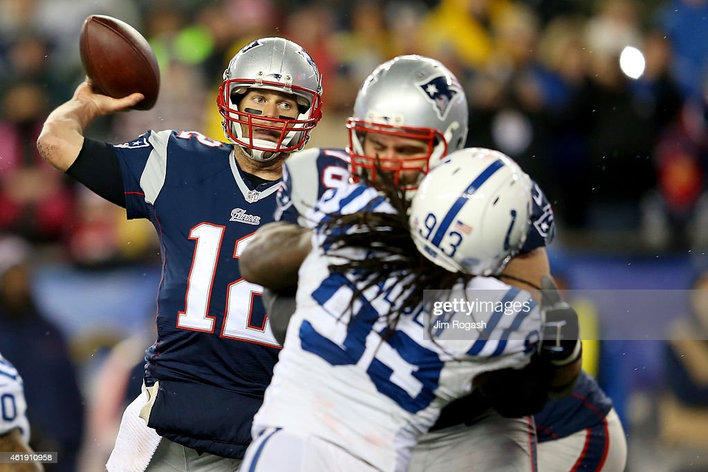 Tom Brady of the New England Patriots in action against the Indianapolis Colts of the 2015 AFC Championship Game at Gillette Stadium on January 18...