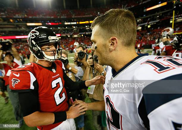 Tom Brady of the New England Patriots is congratulated by Matt Ryan of the Atlanta Falcons after their 3023 win at Georgia Dome on September 29 2013...