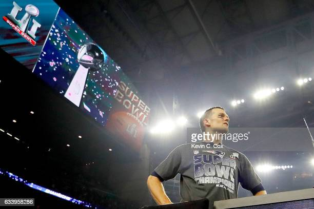 Tom Brady of the New England Patriots looks on after defeating the Atlanta Falcons 3428 in overtime of Super Bowl 51 at NRG Stadium on February 5...