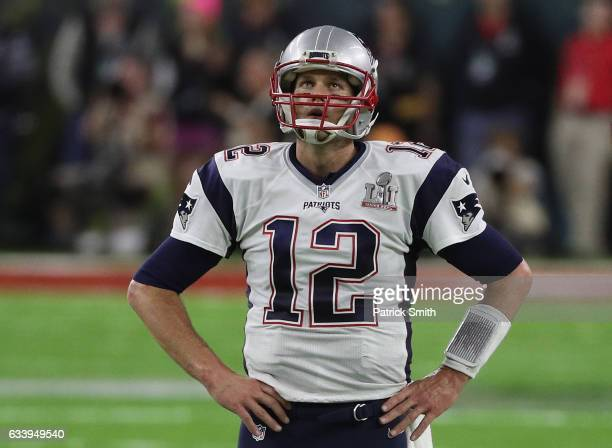 Tom Brady of the New England Patriots looks on during the second quarter of Super Bowl 51 against the Atlanta Falcons at NRG Stadium on February 5...