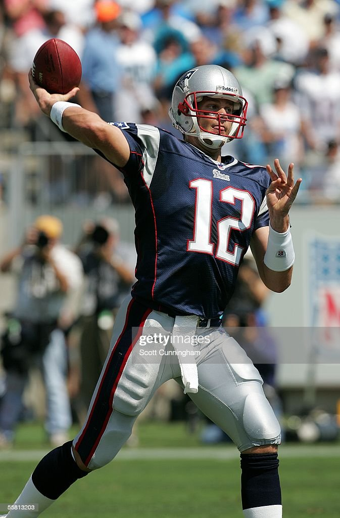 Tom Brady #12 of the New England Patriots passes against the Carolina Panthers at Bank of America Stadium on September 18, 2005 in Charlotte, North Carolina. The Panthers defeated the Patriots 27-17.